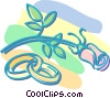wedding rings and a single rose Vector Clipart graphic