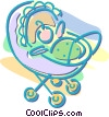 Vector Clipart picture  of a baby in a baby carriage