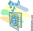 Vector Clip Art image  of a singing birthday card