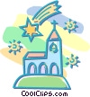 falling stars over a church Vector Clipart illustration