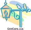 birds sitting on an outdoor lamp Vector Clipart illustration