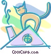 Vector Clipart picture  of a cat on a roof