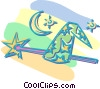 magic hat and wand Vector Clip Art graphic
