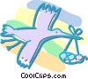 Vector Clip Art graphic  of a stork with baby