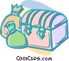 treasure chest with money bags Vector Clip Art graphic