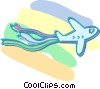 Vector Clipart graphic  of an airplane with banners