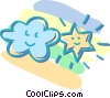 Vector Clip Art graphic  of a cloud and star