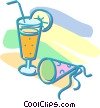 cocktail and party hat Vector Clipart picture