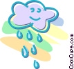 Vector Clipart graphic  of a cloud with rain
