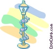 flowers around a lamp post Vector Clipart graphic