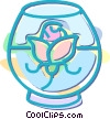 flower in a bowl of water Vector Clip Art picture