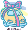 Vector Clip Art picture  of an automobile with a ribbon