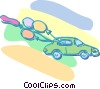 Vector Clipart graphic  of a car with balloons