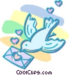 Vector Clipart illustration  of a dove with a love letter