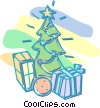 Vector Clipart graphic  of a Christmas tree with presents