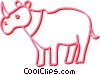 Vector Clip Art graphic  of a rhino