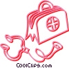 Vector Clip Art graphic  of a medical bag and stethoscope
