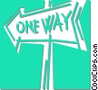 Vector Clipart image  of a one way sign