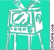 Vector Clipart illustration  of a television set