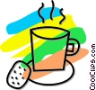 Vector Clip Art image  of a cup of coffee and a cookie