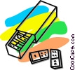 Vector Clip Art image  of a box of dominos