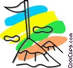 Vector Clipart illustration  of a flag on the top of a mountain