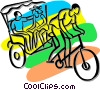 people being pulled bicycle rickshaw Vector Clipart illustration
