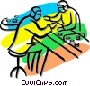 Vector Clipart graphic  of a people working on the assembly
