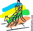 seeing eye dog with a blind person Vector Clipart illustration