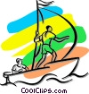 Vector Clipart graphic  of a people sailing