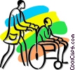 Vector Clip Art image  of a person pushing a man in a