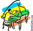 Vector Clipart illustration  of a person playing a grand piano