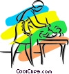 Vector Clip Art graphic  of a woman dusting a table