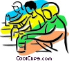 Vector Clip Art picture  of an assembly line
