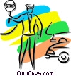 Vector Clipart illustration  of a crossing guard holding a stop