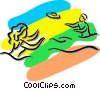 Vector Clipart graphic  of a kids playing Frisbee