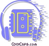 Vector Clip Art graphic  of a portable stereo system