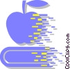 apple on a school book Vector Clip Art graphic