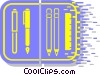 Vector Clip Art graphic  of an assorted pens