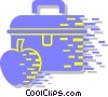 Vector Clip Art graphic  of a lunch box and apple