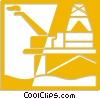 Vector Clip Art graphic  of a offshore drilling platforms