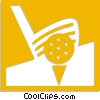 Vector Clip Art image  of a golf club hitting a golf ball