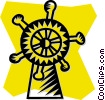 Vector Clipart image  of a captain's wheel