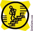 Vector Clipart graphic  of a person taking the stairs