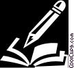 Vector Clip Art graphic  of a book and pencil