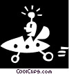 Vector Clip Art image  of an alien in a ufo