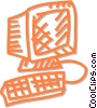 Vector Clip Art image  of a computer monitor and keyboard