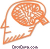human head with a cross section of the brain Vector Clipart graphic