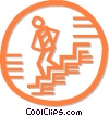 Vector Clipart picture  of a person walking down the stairs