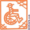 Vector Clipart graphic  of a person in a wheelchair